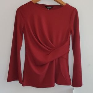 NWT Ellen Tracy Long Sleeve Chiffon Ruched Blouse